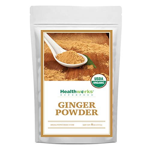 Healthworks Ginger Powder (8 Ounces)   Ground   Raw   All-Natural & Certified Organic   Keto, Vegan & Non-GMO   Great with Coffee, Tea & Juices   Antioxidant Superfood/Spice