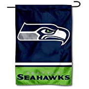 """12.5"""" x 18"""" in Size with Top Pole Sleeve for hanging from your Garden Stand (Accessories Sold Separately) Made of Double Sided 2-Ply 100% Polyester with Sewn-In Liner, Double Stitched Perimeter Sewing, Imported Seattle Seahawks Logos are Screen Print..."""