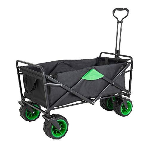 Gutgojo Bollerwagen Offroad Transportwagen Handwagen faltbar Gartenwagen die Reifen mit Lager für Alle Gelände Geeignet (Schwarz/Grün)