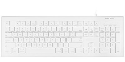 Macally Full Size USB Wired Keyboard (MKEYE) for Mac and PC (White) w/ Shortcut Hot Keys