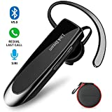 Bluetooth Earpiece Link Dream Wireless Headset with Mic 24Hrs Talktime Hands-Free in-Ear Headphone Compatible with iPhone Samsung Android Smart Phones, Driver Trucker (Black)