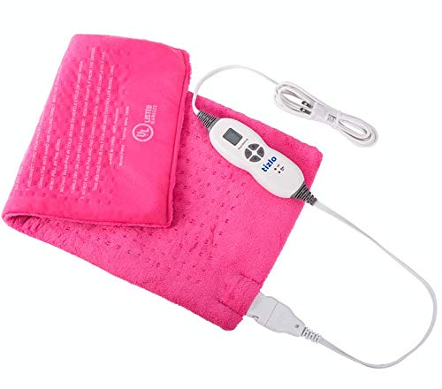 XL Heating Pad 12'X24' Moist Or Dry Heat Therapy for Back Neck Shoulder Pain Relief and Muscle Cramps. 2 Hour Auto Shut-Off for Piece of Mind - Machine Washable Micro-Plush Fabric Pink