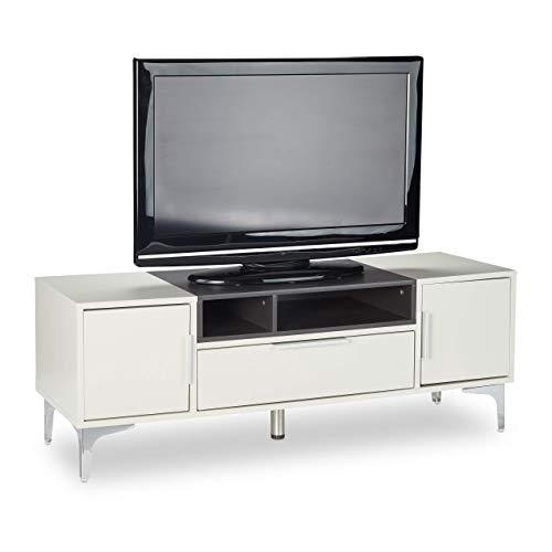Relaxdays Mobile TV, Tavolino Basso per Televisione, Mobiletto XL con Cassetto, HxLxP: 44 x 120 x 40...