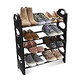 TNT Multipurpose Foldable Shoe Rack Cabinet Organiser 4 Shelves, Black (Iron and Plastic)
