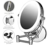 Ovente Wall Mounted Makeup Mirror 7.5 Inch with 10X Magnification and Diffused LED Ring Lights, Double-Sided with 360 Degree Swivel Design, 2 Choices of Power Supply, Polished Chrome (MLW75CH1X10X)