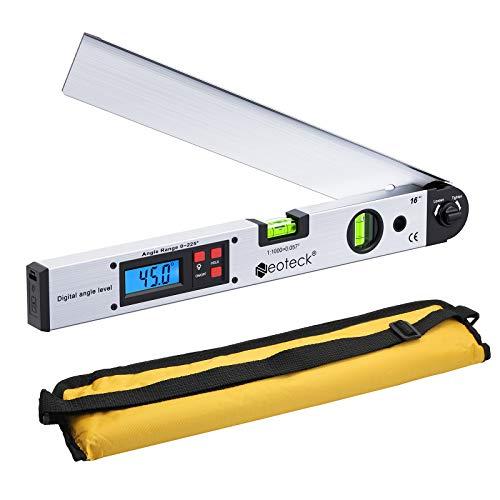 Neoteck - Righello digitale angolare angolare da 400 mm, goniometro elettronico da 0 a 225°, con custodia portatile LCD retroilluminata