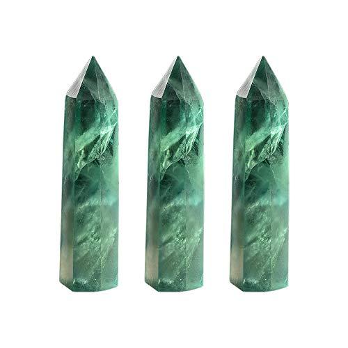 Runyangshi 3pcs Green Fluorite Healing Crystal Wands Height...