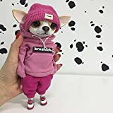 Chihuahuas Clay Fashionable Animal Doll Sculptures, Resin Standing Puppy Doll Plush Toy for Women/Men