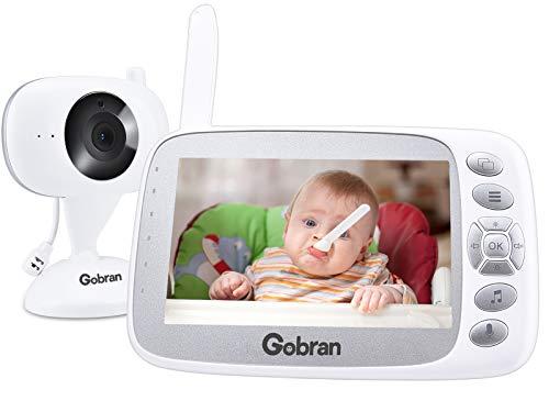 Baby Monitor Schermo 4.3'' HD LCD Espandibile 2 Telecamere,Gobran Videosorveglianza Videocamera Babyphone,VOX Attivazione Vocale,Visione Notturna,Audio Bidirezionale,Sensore di Temperatura,Ninnananne