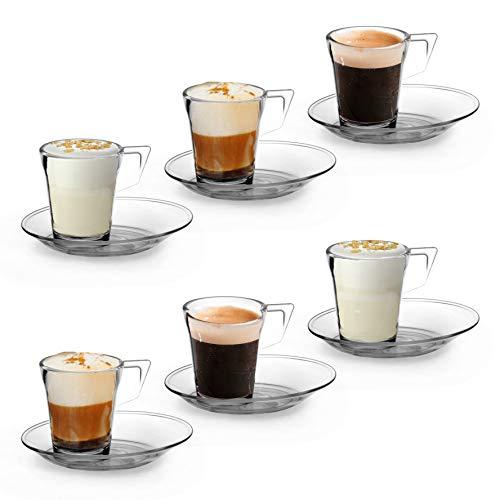 RB Tazzine da Caffe con Piattino Plastica Premium Infrangibile Riutilizzabile 7cl, Set di 6