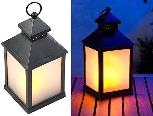 Lunartec Gartenlaterne: LED-Laterne mit realistischem Flammenspiel und Timer, schwarz (Windlicht)