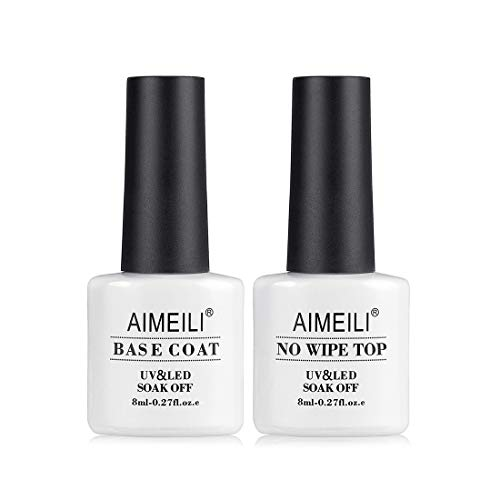 AIMEILI Soak Off UV Gel Polish Base Coat and No Wipe Top Coat Set (2x8ml), Upgraded Formula Long Lasting Mirror Finish Gel Polish