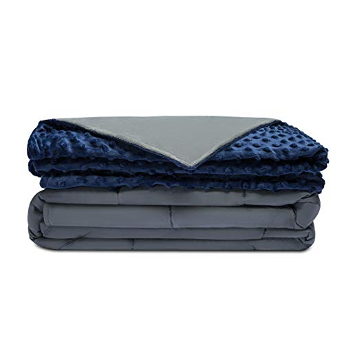 Quility Cotton 60 by 80 in for Full Size Bed 20 lbs Adult Weighted Blanket Grey with Removable Duvet Cover Navy Blue