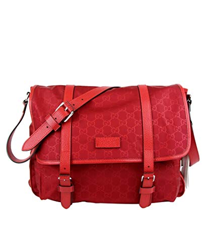 418nJqe21fL Made of nylon; Adjustable leather shoulder strap; Silver hardware; Facing flap with leather belts Exterior zip pocket; Interior slip and zip pockets; Features: Adjustable Strap Measurements: Length: 14; Height: 11.5; Depth: 4; Width: 14; Strap Drop: 19 to 23 Inches