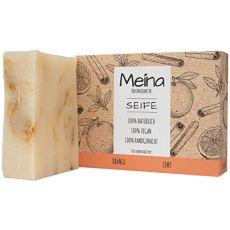 Meina Naturkosmetik - Seife mit Orange und Zimt (1 x 100 g) Palmölfrei, Natürlich, Vegan, Handgemacht, Bio Naturseife - Körperpflege und Gesichtspflege
