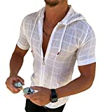 OEAK Homme Sweatshirt à Manches Courtes Cardigan à Capuche Été Chemise Respirant Léger T-shirt Décontracté Slim Fit Blouse Zippé Couleur Unie(blanc,XL)