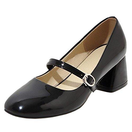 ELEEMEE Femmes Confort Bloc Mary Jane Chaussures Boucle Talons Moyen Escarpins Chaussures Orteil Carre Travail Escarpins Black Size 38 Asian