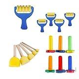 Yingwei VWH 39 Pièces Brosses de Peinture à l'Éponge Kits de Peinture pour Enfants Brosses à...