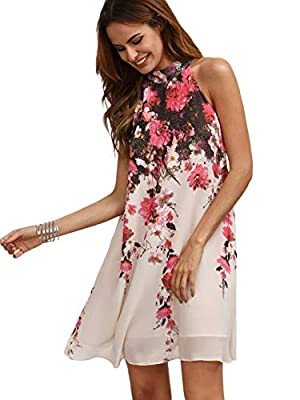 Fabric has no stretch Features: Halter neck, sleeveless, back keyhole, with buttons,floral printed, chiffon, swing dress Halter neck and back tie design, which can show your sexy shoulder and back. It can be matched with flip flops, sandals, high hee...