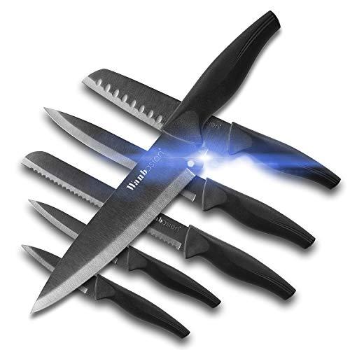 Wanbasion 6 pezzi set di coltelli da cucina professionali chef, set di coltelli acciaio inox nero,...