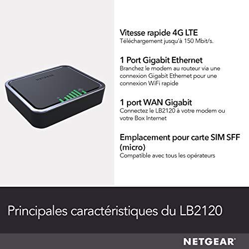 418ywfwLZLL._SL500_ [Bon plan] !  NETGEAR Modem 4G LTE (LB2120), Compatible avec toutes les Cartes SIM européennes, 2 ports Ethernet Gigabit, Ultra C...