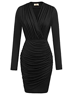 Crossover V-neck, Sleeveless, Draped Waist, Front Pleated with Unique Look, Tulip Hem, Wrap Dress Unique design in Wrap Neck: wrap v neck design creates a sexy front and gorgeous back look . Ruched womens dress modifies beautiful sexy leg shape,makes...