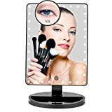 Large Lighted Vanity Makeup Mirror (X-Large Model), Funtouch Light Up Mirror with 35 LED Lights, Touch Screen and 10X Magnification Mirror, 360 Rotation Tabletop Cosmetic Mirror (Black)