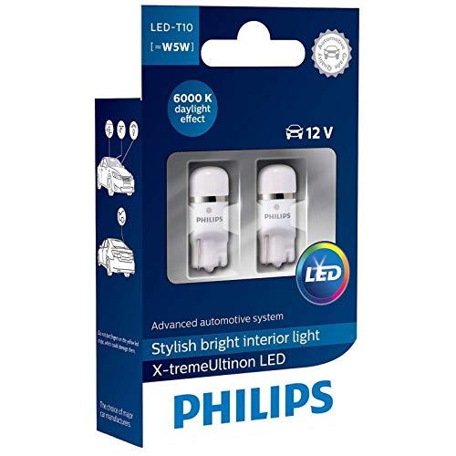 Philips 127996000KX2 X-treme Vision LED T10 6000K CeraLight, Diffusione Uniforme della Luce a 360