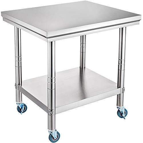 VEVOR Tavolo da Lavoro in Acciaio Inox Piano di Lavoro per Cucina di Lavoro Professionale a 4 Ruote per La Preparazione di Alimenti (76X60X80 cm)