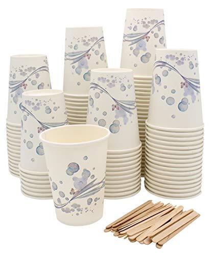 Exxens 100 Bicchieri Grandi di Carta con Palette Legno per Caffè, Cioccolata Calda, Cappuccino, Bevande - Tazza 265ml - Termici