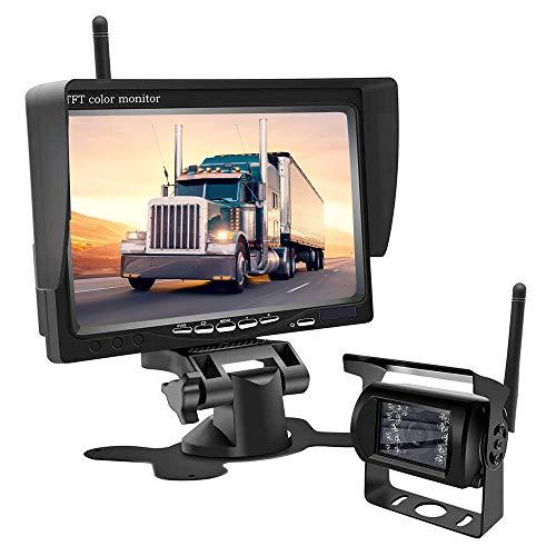 Kit di telecamera per retromarcia senza fili, 18 luci a LED, super visione notturna, telecamera per retromarcia, kit monitor per camion, camper, fuoristrada