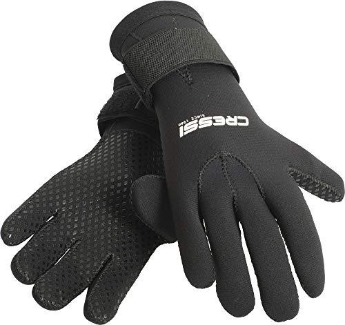 Cressi Black Gloves Resilient, Guanto per attivit Subacquee in Neoprene 3mm Unisex Adulto, Nero, M