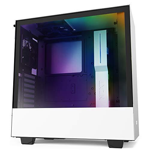 NZXT H510i - Boîtier PC Gaming ATX Moyenne Tour Compact - Port I/O USB Type-C en Façade - Montage Vertical du Processeur Graphique ( GPU ) - Panneau Latéral en Verre Trempé - Noir/Blanc