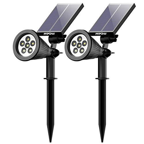 Mpow Solarstrahler, 6 LED Gartenstrahler solar,Garten Solarleuchten,solarlampe für Außen,2 Beleuchtungsmodi, Wasserdicht,Superhelle Garten-Licht, Solarlicht, Aussenlicht für Garten, Hof, Pfad -2 Stück