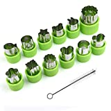 KUUQA Vegetable Cutter Shapes Set Flower Star Cartoon Animals Fruit Mold Decorating Tools for Cookies Fruit Decoration Kids Baking Craft Supplies with Cleaning Brush,12PCS