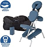 EARTHLITE Portable Massage Chair Package VORTEX - Portable, Compact, Strong and Lightweight incl. Carry Case, Sternum Pad & Strap (15lbs), Mystic Blue