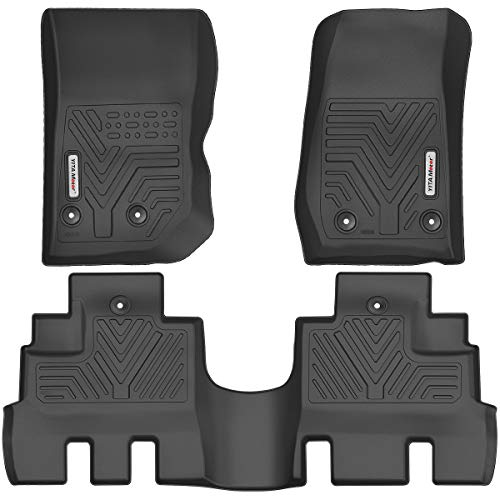 YITAMOTOR Floor Mats Compatible with Jeep Wrangler JK Unlimited, Custom Fit Floor Liners for 2014-2018 Jeep Wrangler JKU 4 Door, 1st & 2nd Row All Weather Protection