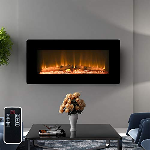 LOKATSE HOME 36' 1400W Wall Mounted Electric Fireplace Stove Heater...