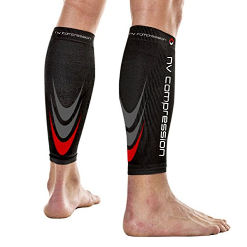 NV Compression 365 fasce di compressione per polpacci - Nero - Calf Guards/Sleeve Socks (PAIR)...