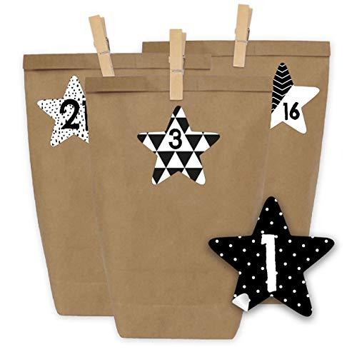 Papierdrachen DIY Adventskalender zum Befüllen und selbst basteln - 24 Tüten mit 24 Aufkleber...