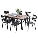 Sophia & William Patio Dining Set 7 Pieces Metal Outdoor Furniture Set, 6 x Metal Stackable Garden Chairs, 1 Patio Rectangle Umbrella Table Wood Like for Backyard Pool