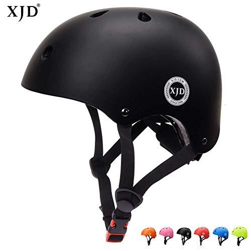 XJD Kinder Helm Fahrradhelm für 3-13 Alt Skaterhelm mit Klassiker 1.0 CE-Zertifizierung Scooter-Helm für Mädchen und Junge Multisport Skateboard Roller Radfahren (Schwarz L)