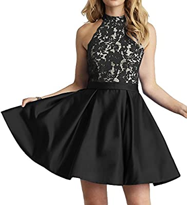 Tips: There are 5cm you can modify when dress is small for you. JAEDEN measurements for detailed sizing information on left. Available in full size range (Size 2- Size 28) and in custom sizing Halter Homecoming Dress A line Cocktail Floral Lace Empir...