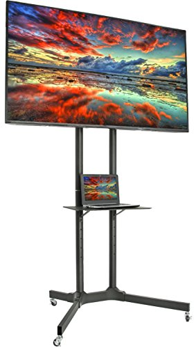 VIVO Mobile TV Cart for 32-65 inch LCD LED Plasma Flat Panel Screen TVs up to 110 lbs, Pro Height Adjustable Rolling Black Stand with Laptop Shelf & Locking Wheels - Max VESA 600x400 (STAND-TV03E)