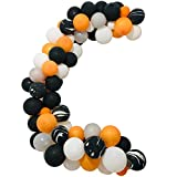 123 pcs Halloween Balloon Arch & Garland Kit - 16Ft Long Black Orange White, Silver Agate Black Balloons, Balloon Strip Tape, Adhesive Dots for Halloween Party Decorations
