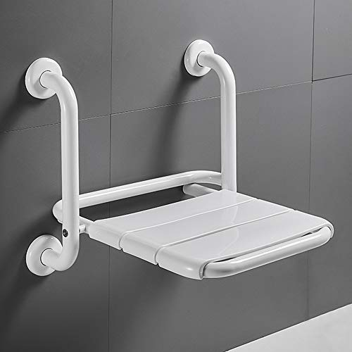Folding Shower Chair with Armrest, Shower Seat Wall Mounted for Seniors, 2 in 1 Multifunctional Foldable Bathroom Shower Bench for Pregnant Woman, Space-Saving, Stable & Heavy Load-Bearing