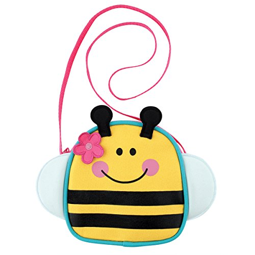 419Fnzp 1UL IMAGINATIVE DESIGNS: Bright colors and cute characters make these crossbody purses the perfect first purse for toddlers. From play time to wanting to carry a purse like mommy, your little one will love these little purses. SPECIAL FEATURES: Made with an easy zip closure that shuts securely, but is easy for little fingers to open, you can be sure there'll be no lost lunch money. The attached strap is perfect to sling over you little one so the purse stays nice and secure. HIGH QUALITY: Made from polyester these little purses are made to last. Measures approx.. 5x5 inches and strap is 25 inches long.
