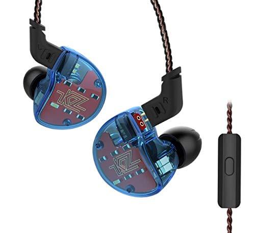 Kz ZS10 con auricolari a cancellazione di rumore cuffie auricolari sportivi con microfono dinamico ibrida 10 driver in Ear HiFi DJ Monito auricolari Bass auricolare with mic blue