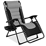Best Choice Products Oversized Padded Zero Gravity Chair, Folding Outdoor Patio Recliner for Backyard, Beach w/Headrest, Side Tray, Textilene Mesh - Gray