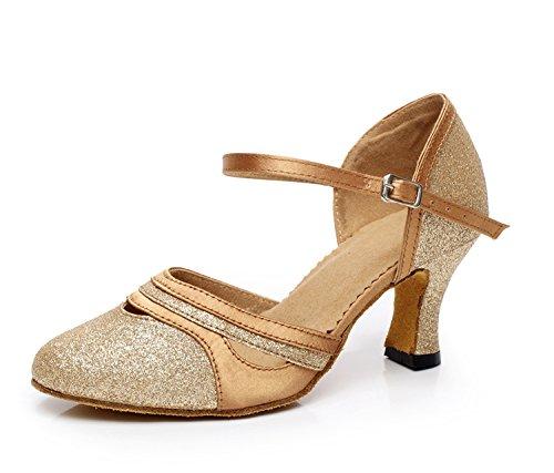 Escarpins confortables à paillette pour femme Minitoo GQJ7012 - Danse latine, mariage - Or - doré, 39